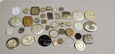 Vintage Lot of 35 Watch Faces Parts Repair Benruss Bulova Wittnauer Longines