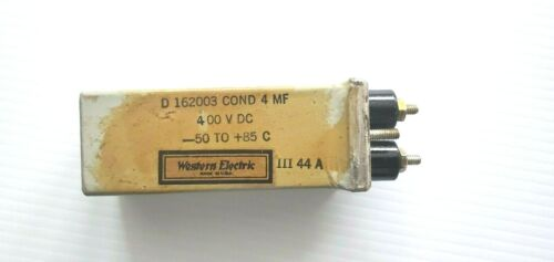 (1) Western Electric D-162003 4uf 4mf @ 400V TUBE AMPLIFIER COND Capacitor
