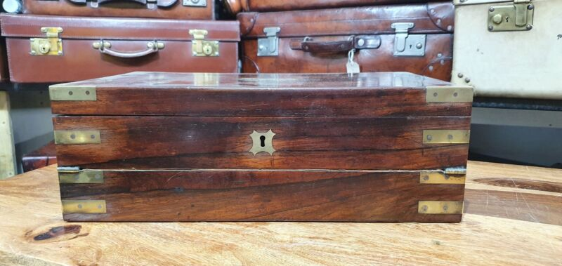 antique campaign mahogany and brass writing slope with secret draws