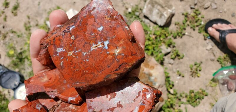 rough natural red-orange jasper from chihuahua mexico ( by the pound)