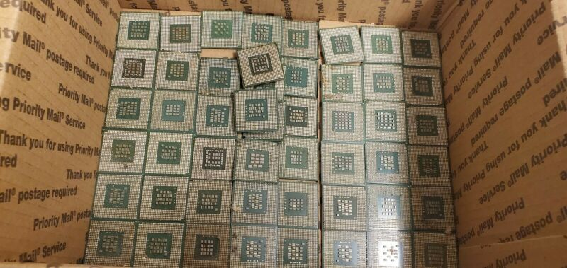Lot of 50 Gold CPU Processors Scrap Recovery Precious Metals with pins