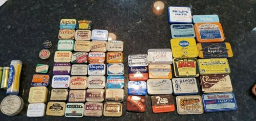 Rare vintage pharmacy apothecary aspirin laxative tin collection 59 pieces set