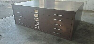 Industrial 5 Drawer Blueprint Drawing Maps Plans File Cabinet 47 X 35 X 17.5
