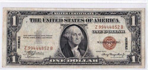 $1 1935 A Hawaii Silver Certificate War Time WWII Emergency Issue RARE Z-B Block