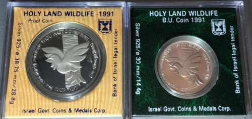 Israel 1991 - Holyland Wildlife - Dove - Silver 1 NIS BU and 2 NIS Proof