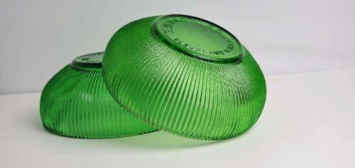 "Vintage E.O. Brody Co Cleveland Depression Glass Green Ribbed Bowls Set of 2 6"""