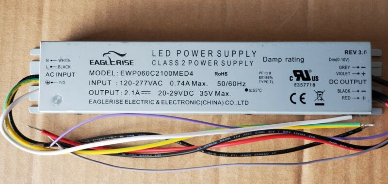 EAGLERISE EWP060C2100MED4 60W LED Driver Power Supply 120-277V.SIMKAR LED