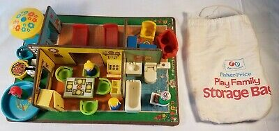 VINTAGE Fisher Price LITTLE PEOPLE Play Family Play Rooms #909 CLOTH BAG Sears