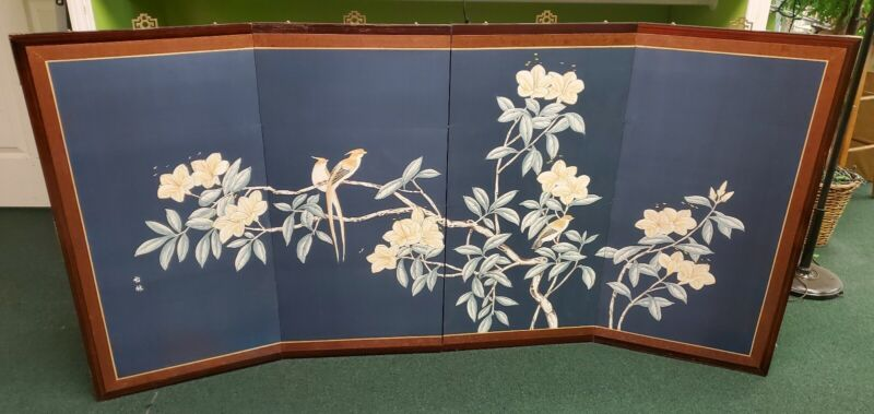"Vintage Asian Silk Screen 4 Panel Hand Painted 72.5"" x 36"""