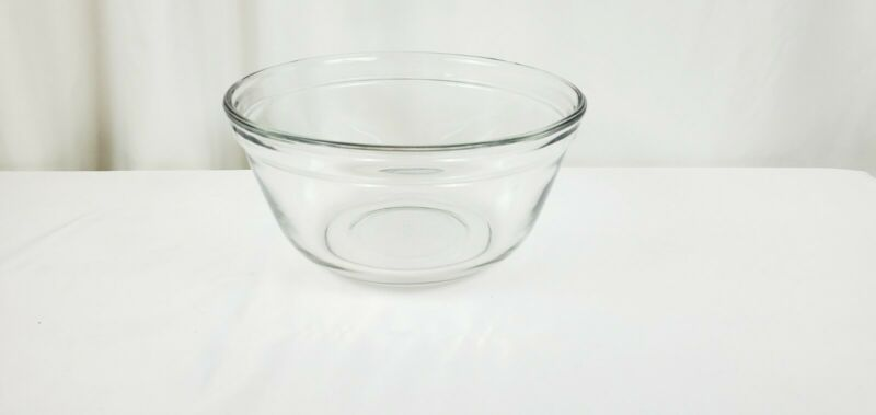"VINTAGE ANCHOR HOCKING OVENWARE CLEAR GLASS MIXING BOWL 2.5 QT #1058 8 1/2"" X 4"""