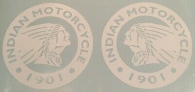 """12"""" diameter Indian Motorcycle Chief Scout GLOSS WHITE Round Logo Decal Set"""