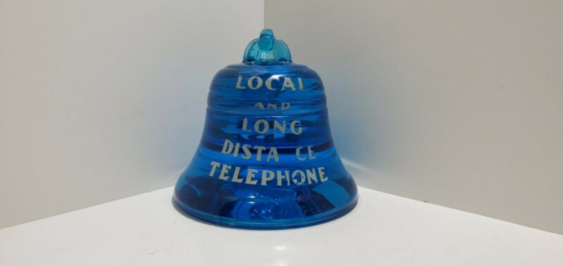 Antique New York Bell System Telephone Company Cobalt Blue Glass Paperweight