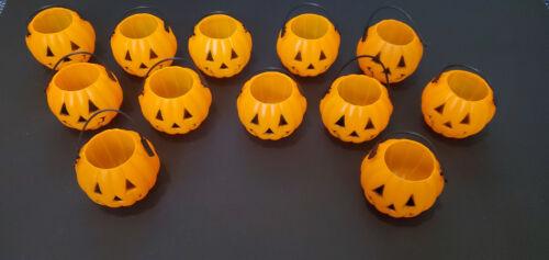 12 Mini Pumpkin JOL Halloween Candy Holder Pail Bucket Lot