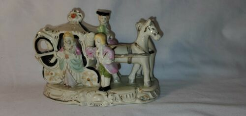 Vintage Porcelain  Cinderella Coach Carriage with Horses