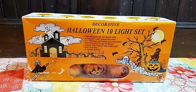 Vintage Pumpkin Jack O Lantern Halloween Patio Party 10 Blow Mold String Lights