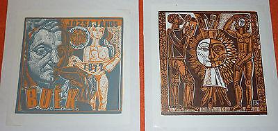 2 Ex Libris Expressionismus Surrealismus Janos Jozsa Ungarn Exlibris