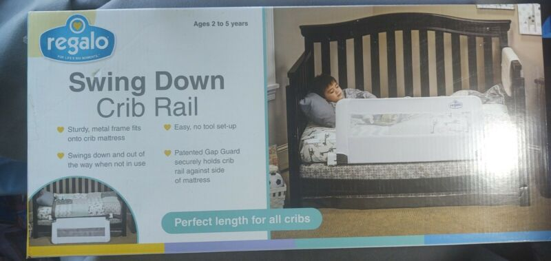 Regalo Swing Down Convertible Crib Toddler Bed Rail Guard Lightweight Kid Safety