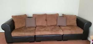 genuine italian leather sofa lounge 3 seater with extra stool