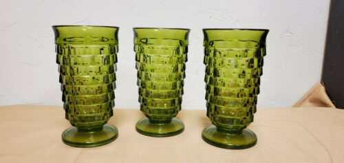 """Indiana Glass Vintage Avacado Green Cubist Tea Glasses Footed 6"""" Set of 3"""