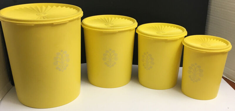 Vintage Tupperware Yellow Canister Servalier Nesting - 4 canisters w/ lids Used