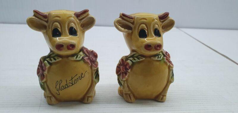 Mustard cow Gladstone Vintage Salt and pepper shakers set Japan
