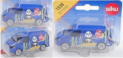 Siku Super 1338 VW T5 facelift Transporter, blau, Panda-Bär und Luftballons 1:61 ()