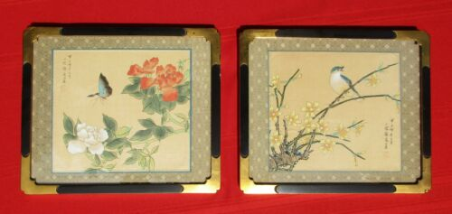 Pair of Vintage Signed Asian Paintings on Silk.