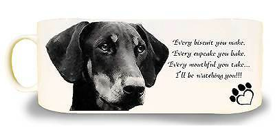 "Doberman Dog Ceramic Mug, caption ""I'll be watching you"" & Gift Tag"