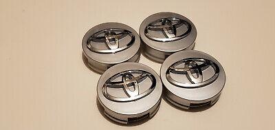 4x TOYOTA WHEEL RIMS CENTER HUB CAP CAPS SILVER BASE CHROME LOGO 62MM CAMRY +MOR