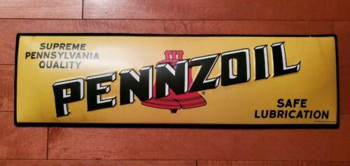 PENNZOIL MOTOR OIL SERVICE  METAL EMBOSSED SIGN