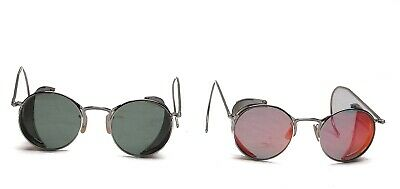 Pair of Vintage Retro Steampunk Goggle Sunglasses Gothic Side Shields Excellent