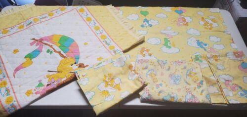 Vintage Care Bears Sheet Set + Blanket Nursery Fabric Bedding Curtains Linens