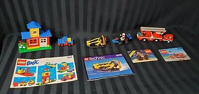 Lot of 4 Vintage Lego Sets 515 8246 6831 6593 Boat Basic Fire Truck Space Police