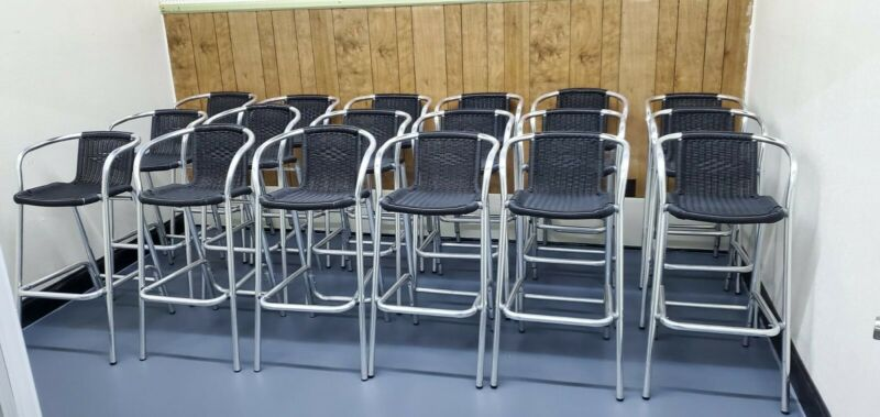 Aluminum outdoor bar stools vinyl weave seats, lot of 18