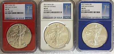 3   2017 Red White Blue Core 1St Day Issue   Ms70 Ngc  American Silver Eagle