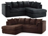 UK MOST SELLING BRAND NEW BYRON JUMBO CORD FABRIC CORNER SOFA ** SAME DAY /NEXT DAY DELIVEY**