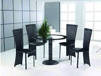 Black round glass table and 4 chairs