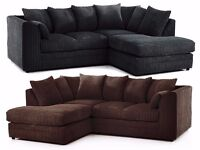 ❤Black Grey Brown & Mink Color❤ New Double Padded Italian Dylan Jumbo Cord Corner Or 3+2 Seater Sofa