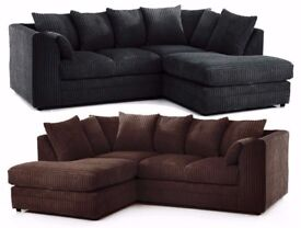 -- CHEAPEST PRICE EVER -- WOW OFFER -- BRAND NEW DYLAN JUMBO CORD SOFA-- CORNER OR 3 AND 2 SEATER