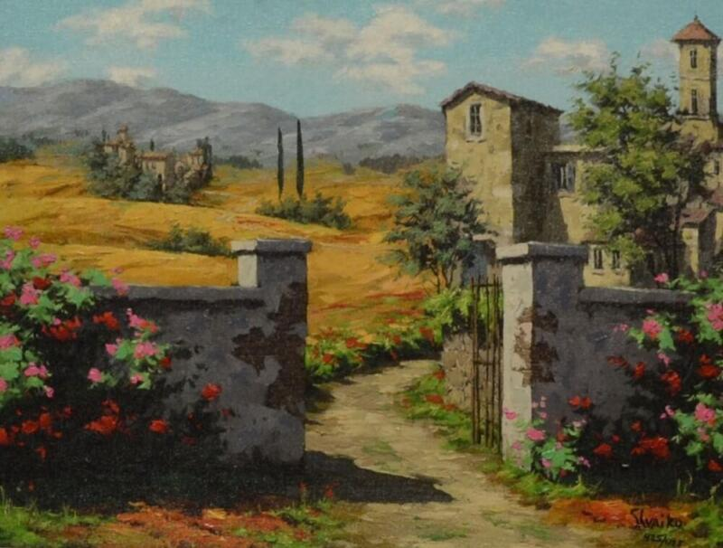 "Viktor Shvaiko ""afternoon In Tuscany"" Country Hand Signed# Embellished Canvas"