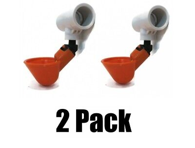 (2) POULTRY PVC DRINKER Cups & Tee Fittings for Chickens Hens Turkey Quail Birds for sale  Shipping to Canada