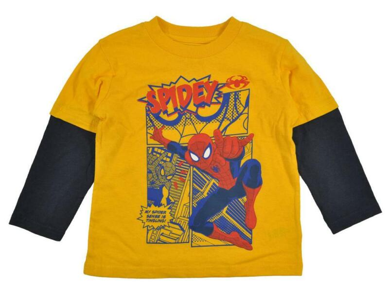 Spider-Man Toddler Boys L/S Yellow Character Print Top Size 2T 3T $12.99