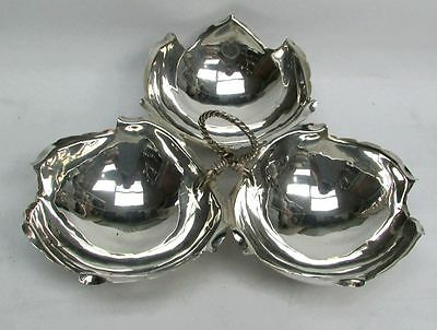 Handsome Bailey Bank   Biddle Sterling Silver 3 Compartment 10  Leaf Dish