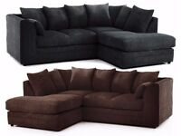 BLACK/GREY/BROW/MINK! NEW DYLAN JUMBO CORD SOFA IN DIFFERENT COLORS -- CORNER OR 3 AND 2 SEATER