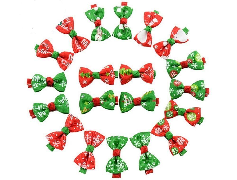 20 Pcs Girl Christmas Holiday Gift Snowflake Ribbon Hair Bows Clip Girl Hairpin Baby