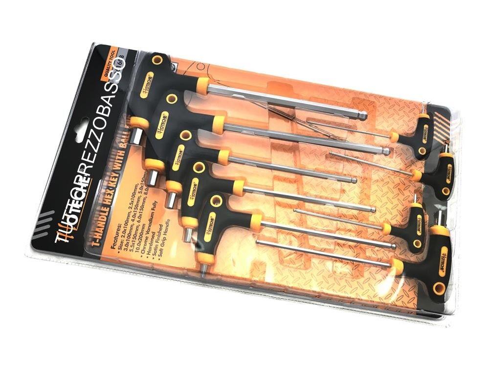 Set 9 chiavi esagonali lunghe manico a T chiave cacciaviti punta brugola pallina