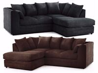 CHOC BROWN OR BLACK!! DYLAN JUMBO CORD SOFA IN DIFFERENT COLORS -- CORNER OR 3 AND 2 SEATER SOFA SET