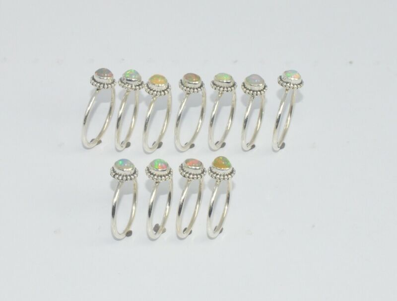 WHOLESALE 11PC 925 SOLID STERLING SILVER ETHIOPION OPAL RING LOT G998