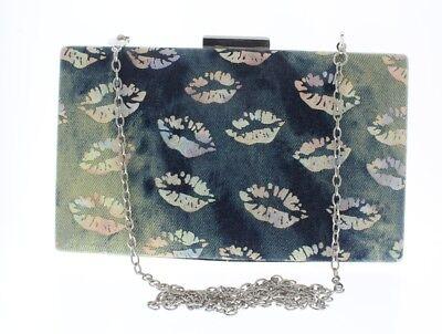 Kissing Lips Denim Hard-Shell Evening Clutch Bag Purse Handbag