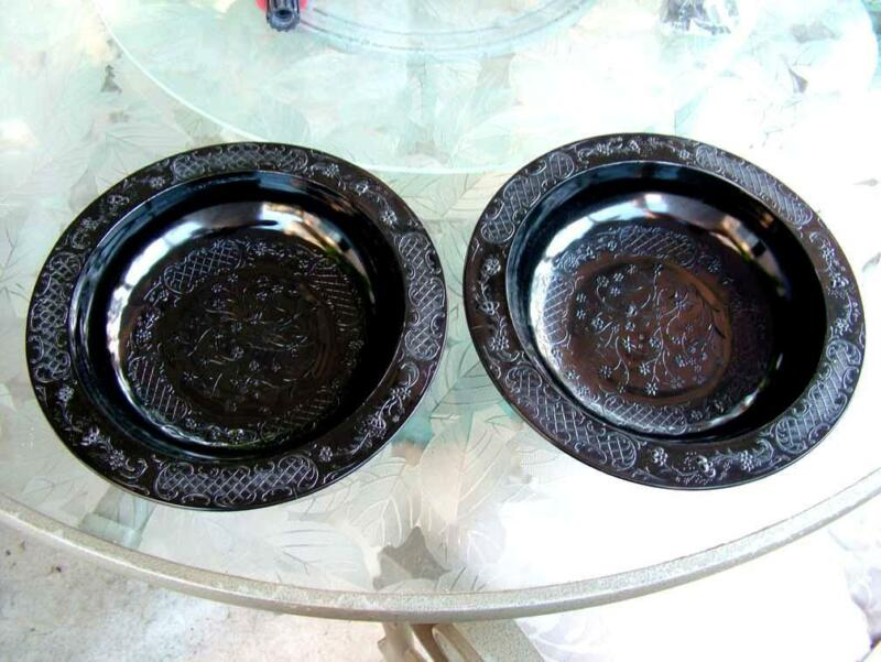 Antiques! Lot of 2 Footed Black Glass Bowls Circa 1930